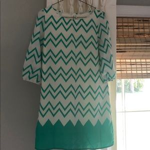Green and white chevron shift dress